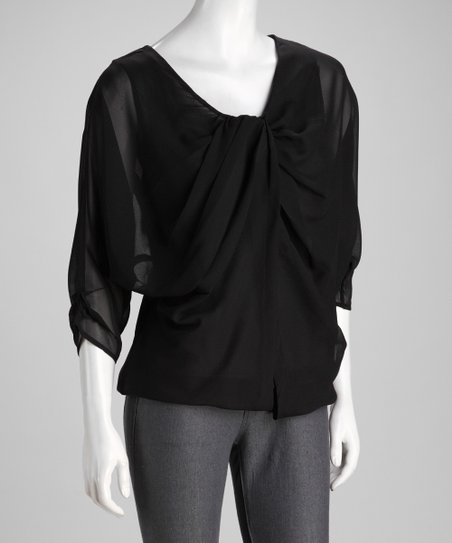 Black Pleated Button-Up Top