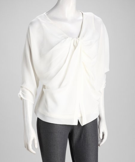Natural Pleated Button-Up Top