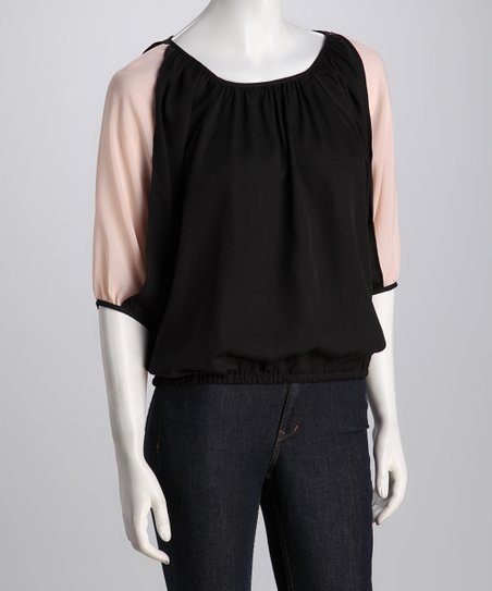 Black Chiffon Inset Drape Top