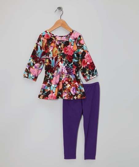 Purple Butterfly Tunic & Leggings - Toddler