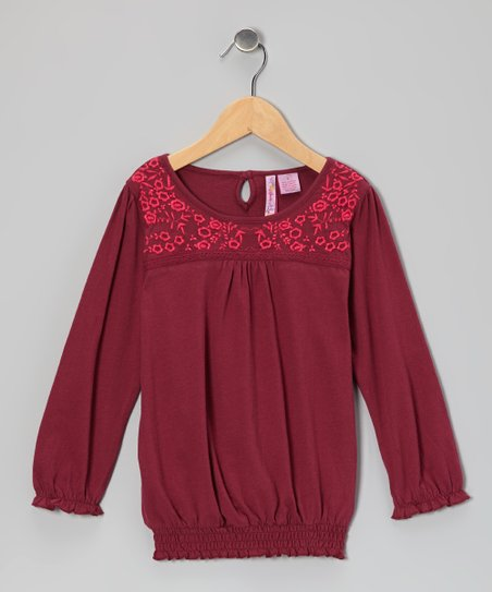Maroon Flower Peasant Top - Girls