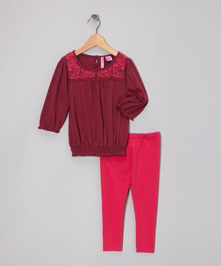 Maroon Flower Peasant Top & Pink Leggings - Toddler