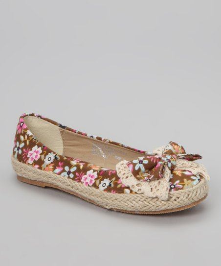 Brown Flower Bow Flat