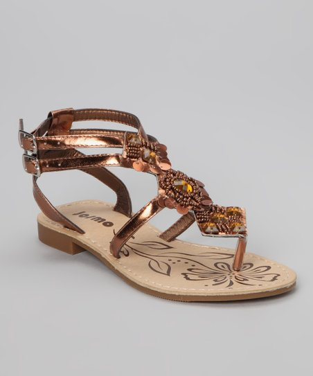Bronze Strappy Beaded Sandal