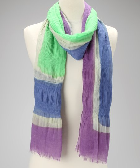 Lime Tres Colores Silk-Linen Blend Scarf