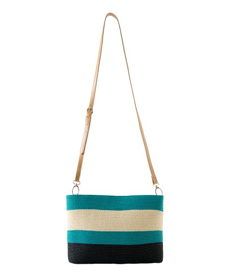 Aqua Stripe Capri Crossbody Bag