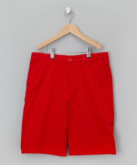 Letter Box Red Pocket Shorts - Boys
