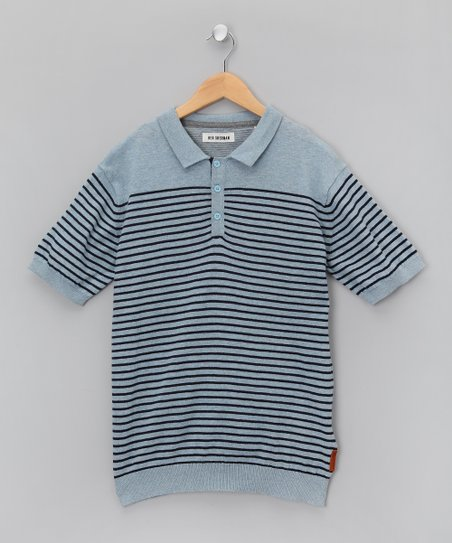 Bleu Stripe Polo - Boys