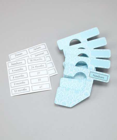 Light Blue & White Damask Closet Divider Set