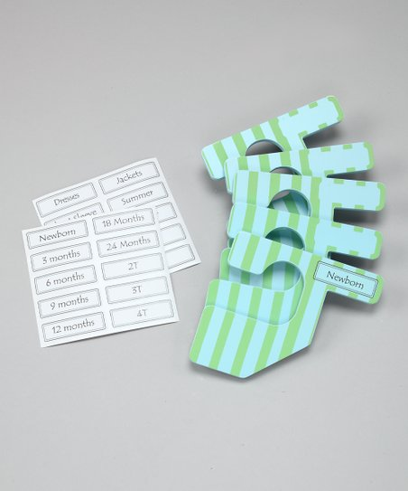 Light Blue & Green Stripe Closet Divider Set