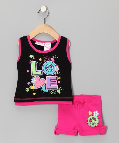 Black 'Love' Tank & Shorts - Infant