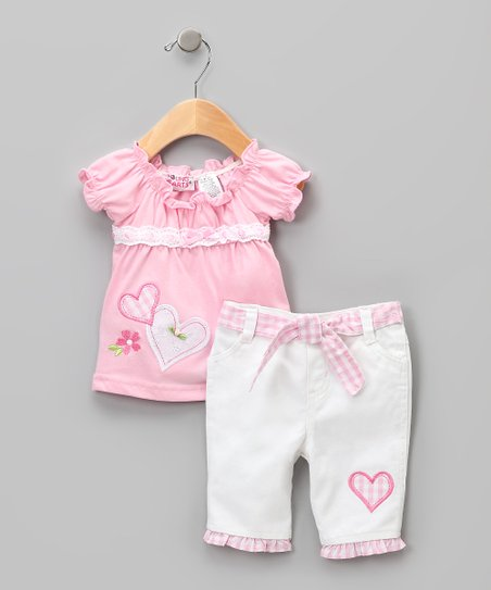 Pink &amp; White Heart Peasant Top &amp; Pants - Girls