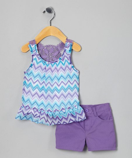 Purple Zigzag Tunic & Shorts - Infant