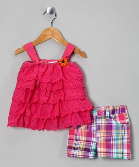 Pink Tiered Lace Tunic &amp; Plaid Shorts - Infant