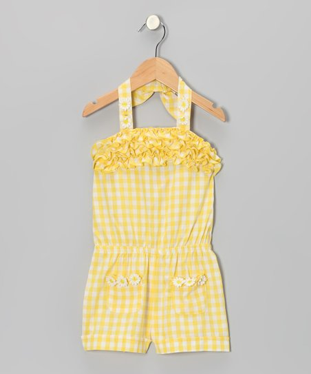 Yellow Gingham Ruffle Romper - Toddler & Girls