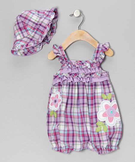 Purple Plaid Romper & Hat - Infant