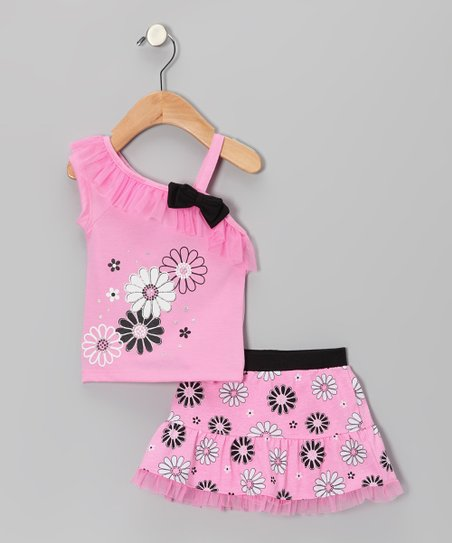 Pink Flower Asymmetrical Top & Skirt - Infant & Toddler