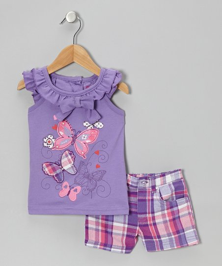 Purple Butterfly Top & Plaid Shorts - Infant & Toddler