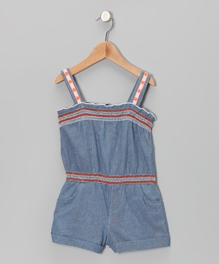 Orange & Blue Denim Romper - Infant, Toddler & Girls