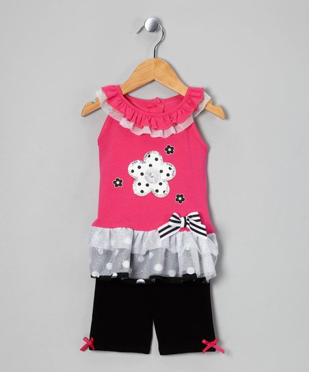Pink Flower Tunic & Shorts - Infant & Girls