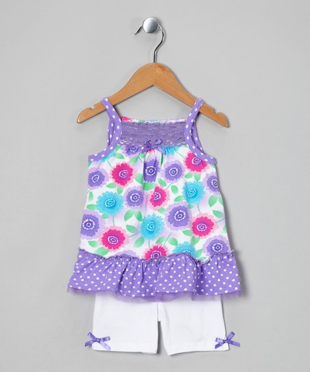 Purple Flower Tunic &amp; White Shorts - Infant