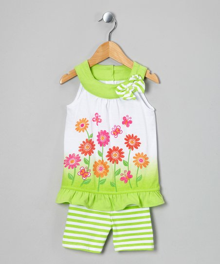 Green Flower Tunic &amp; Stripe Shorts - Infant