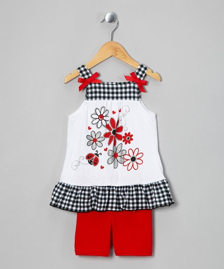 White Flower Tunic & Red Shorts - Infant
