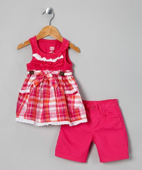 Pink Plaid Tunic &amp; Shorts - Toddler