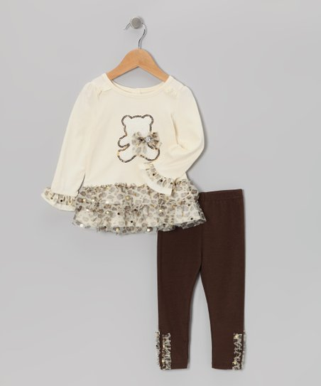 Beige Teddy Bear Ruffle Top & Leggings - Infant