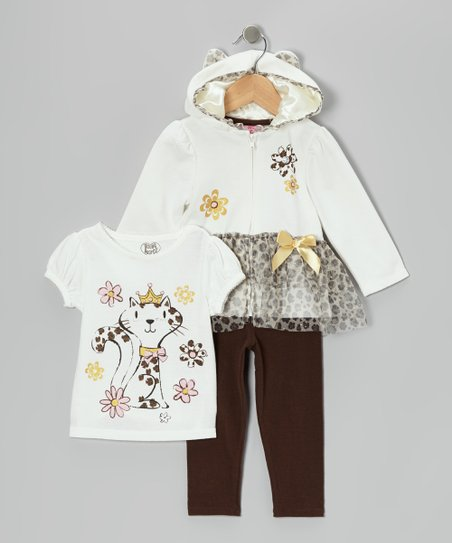 White Kitty Zip-Up Hoodie Set - Infant, Toddler & Girls