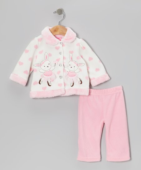 Beige & Pink Bunny Jacket & Pants - Infant