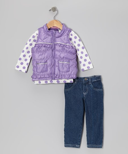 Purple Puffer Vest Set - Girls