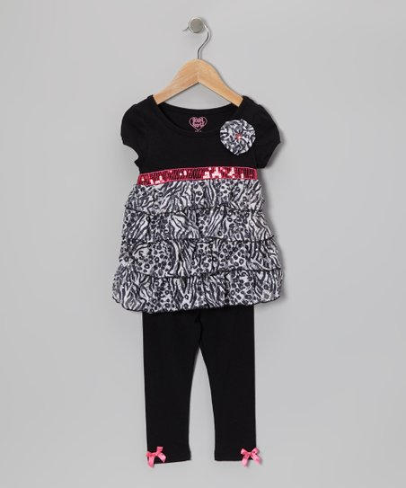 Black Tiered Tunic & Leggings - Toddler & Girls