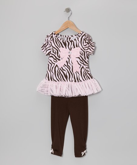 Pink Safari Stripe Tunic & Brown Leggings - Infant & Toddler
