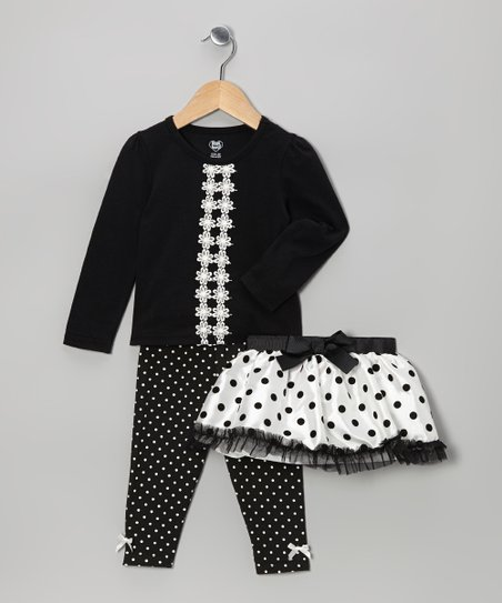 Black & White Polka Dot Skirt Set - Infant, Toddler & Girls