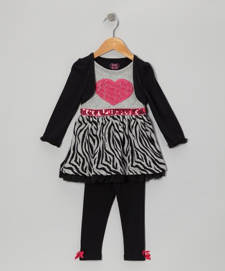 Black Heart Layered Dress & Black Leggings - Infant, Toddler & Girls