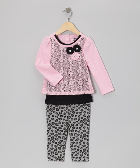 Pink Layered Top & Leopard Leggings - Infant