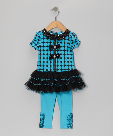 Aqua Turquoise Ruffle Top & Leggings - Infant