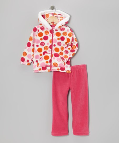 Pink Dot Zip-Up Hoodie & Pants - Infant & Girls