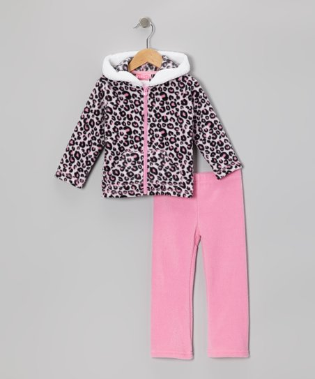 Pink Leopard Zip-Up Hoodie & Pants - Infant