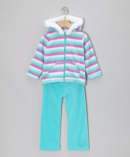 Aqua & Turquoise Zip-Up Hoodie & Pants - Infant, Toddler & Girls