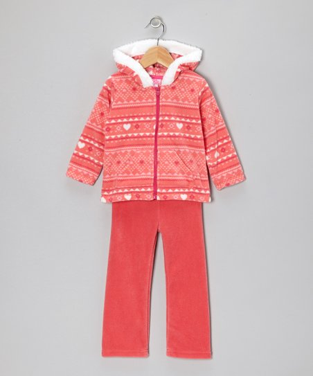 Orange Heart Zip-Up Hoodie & Pants - Infant & Girls