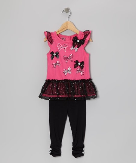 Pink Bow Ruffle Top & Black Leggings - Toddler