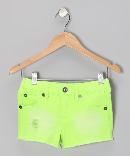 Neon Lime Cosmic Shorts - Girls