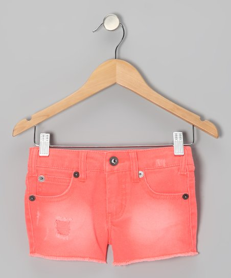 Neon Orange Cosmic Shorts - Girls