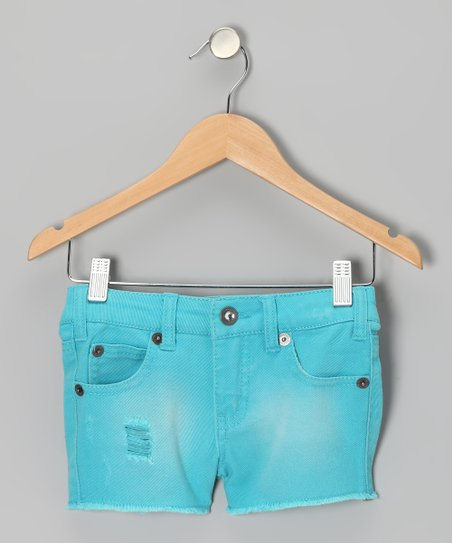 Neon Turquoise Cosmic Shorts - Girls