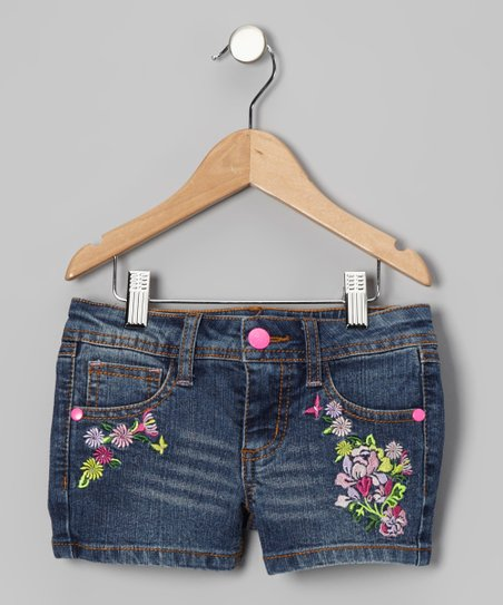 Blue Embroidered Flower Laura Shorts - Toddler