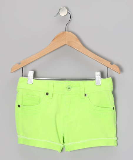 Neon Green Candy Shorts - Girls