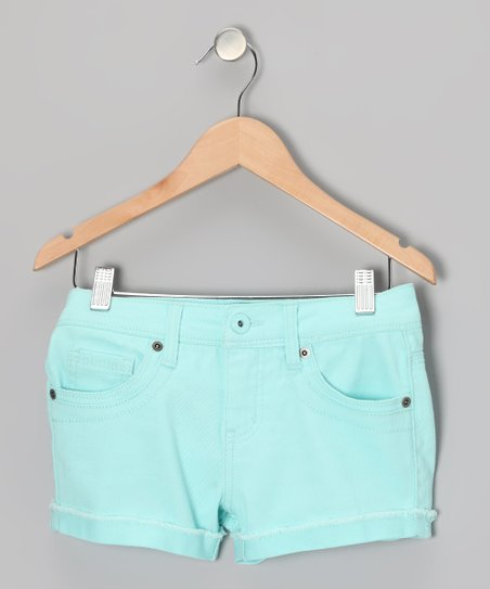 Neon Mint Candy Shorts - Girls