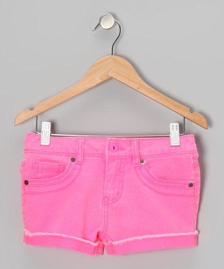 Neon Pink Candy Shorts - Girls
